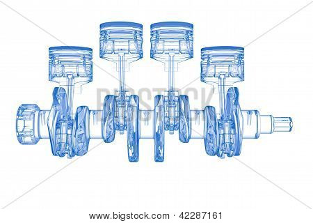 Crank shaft with cylinders