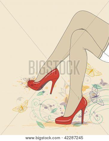 Beine: rote Schuhe und Strümpfe