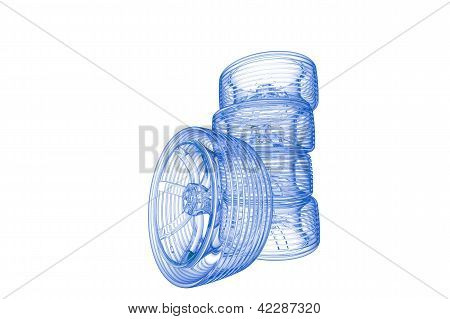 Tires (3D xray blue transparent on white)