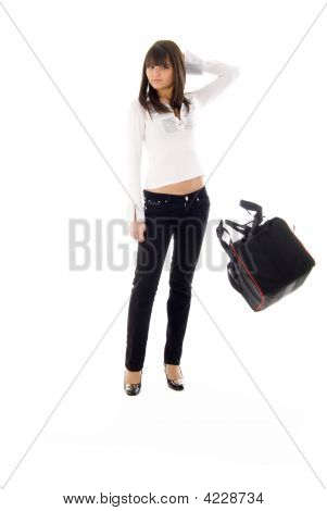 Fashion Girl And Flying Sport Bag
