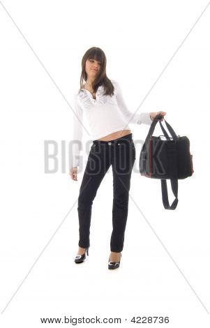 Fashion Girl With Sport Bag