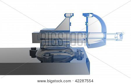 Bench vise - transparent blue and black isolated on white