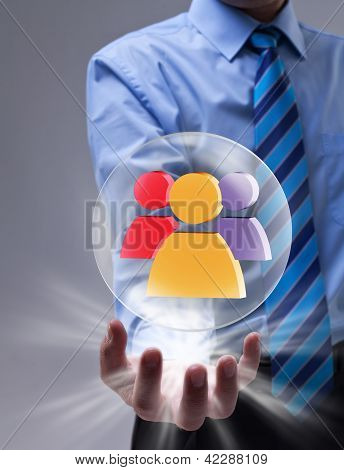 Social Networking Concept With Glass Sphere And Colorful Icon