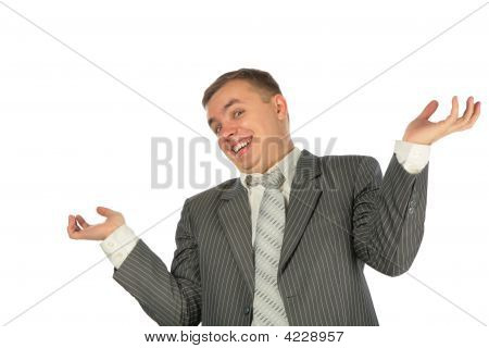 Surprised Businessman On A White Background