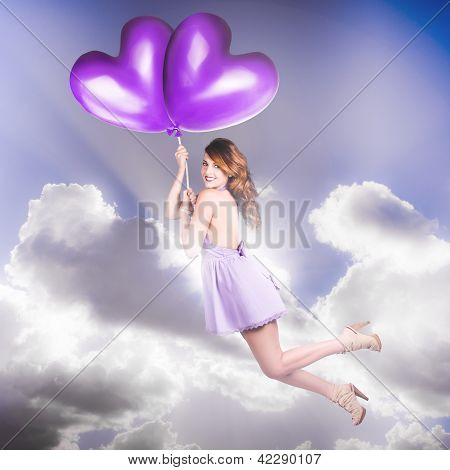 Cute Retro Pinup Girl Holding Heart Shaped Balloon