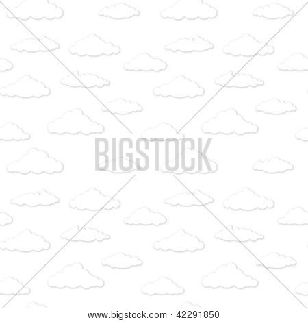 Vector Clouds. Black And White Seamless Background.