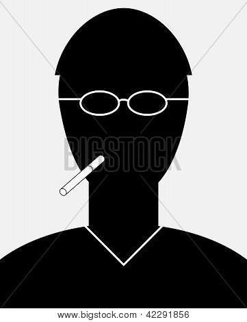 Smoker Portrait - Simple Silhouette Of Man With A Cigarette