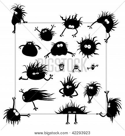 Vector - Group Of Funny Creatures Similar To Microbes