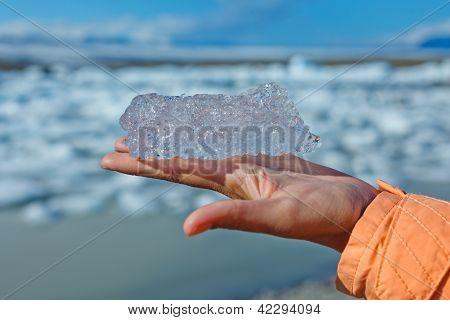 Pedaço de gelo. Jokulsarlon um lago na Islândia
