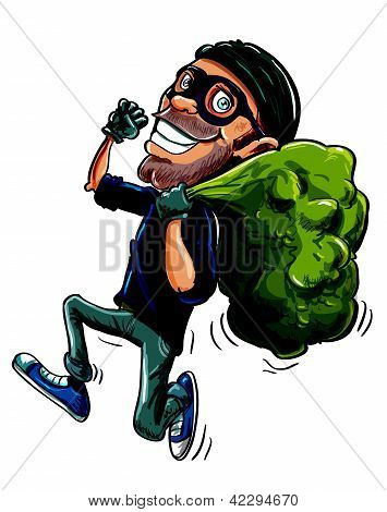Cartoon thief running with a bag of stolen goods