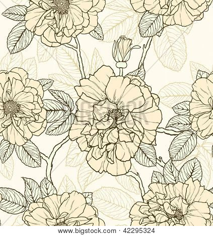 Floral seamless pattern with roses and butterflies
