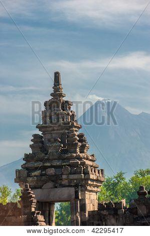 Prambanan Temple With Merapi Volcano, Java, Indonesia