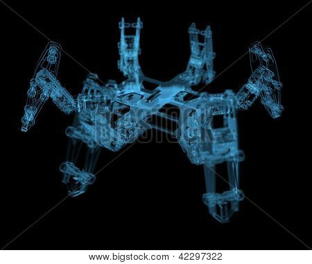 Diy Hexapod Robot (3D Xray Blue Transparent)