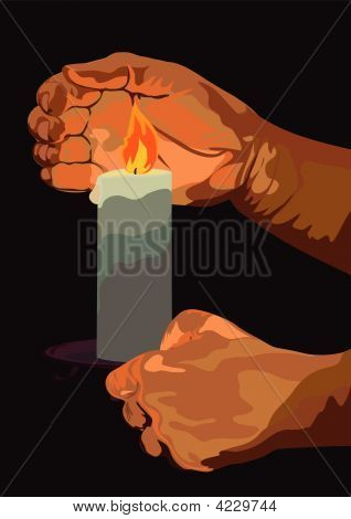 Hand With A Burning Candle In Darkness