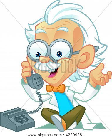 Professor Character Making a Phone Call