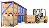 picture of pallet  - 3d white person storing a pallet in a warehouse - JPG