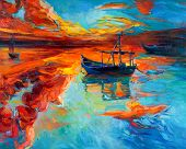 stock photo of boat  - Original oil painting of boats and sea on canvas - JPG