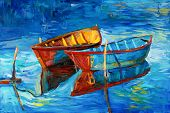 image of canvas  - Original oil painting of boats and sea on canvas - JPG