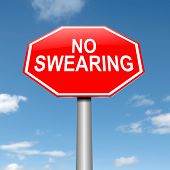 stock photo of disrespect  - Illustration depicting a sign with a no swearing concept - JPG