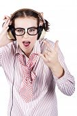picture of jive  - Awesome Female Music Nerd Rocking Out To Hard Rock And Heavy Metal On A Set Of Eighties Earphones - JPG