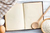 foto of pastry chef  - the old blank recipe book - JPG