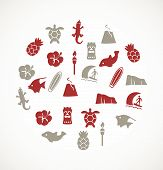 foto of pacific islander ethnicity  - Set of different beautiful icons and elements on the white background - JPG