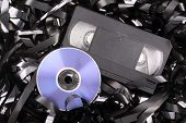 picture of magnetic tape  - Photo of Blue DVD film - JPG