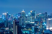 picture of highrises  - Landscape Bangkok city Modern building at twilight high angle - JPG
