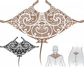 Maori styled tattoo pattern in shape of manta ray. Fit for upper and lower back. Editable vector ill