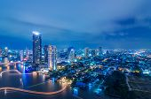 stock photo of highrises  - Landscape Bangkok city Modern building at twilight high angle - JPG