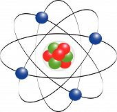 stock photo of neutron  - Protons neutrons electrons and electron orbits with atom core - JPG