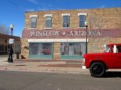 stock photo of grateful dead  - The famous corner from the song in Winslow Arizona - JPG