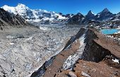 stock photo of cho-cho  - view from Cho Oyu base camp to ngozubma and gyazumba glacier  - JPG
