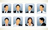 stock photo of faceless  - Template illustration of eight faceless or featureless head and shoulder portraits for male and female businesspeople in business attire - JPG