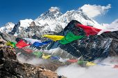 stock photo of dharma  - view of everest from gokyo ri with prayer flags  - JPG
