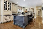 picture of granite  - Upscale kitchen with a gray cabinet granite island - JPG