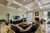 image of ottoman  - Family room in luxury home with fireplace - JPG