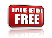 stock photo of free-trade  - buy one get one free button  - JPG