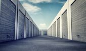 image of self-storage  - many unit storage with metal  rolls up - JPG