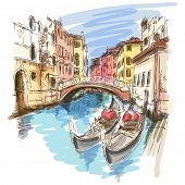 stock photo of gondolier  - 2 gondolas - JPG