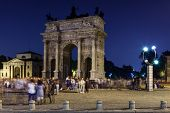 picture of milan  - Arch of Peace in Sempione Park at Night Milan Italy - JPG