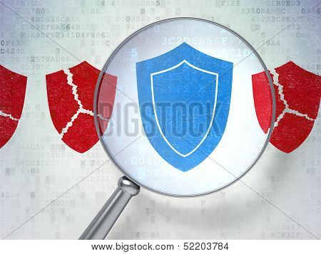 Security concept: Shield with optical glass on digital backgroun