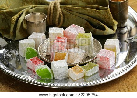 Turkish delight dessert  (rahat lokum) different colors