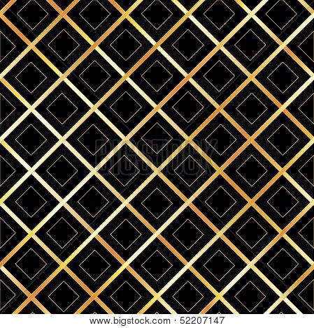 Black background with golden boxes and diagonal lines