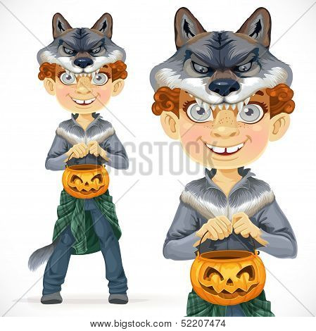 Cute boy dressed as a werewolf