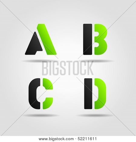 abcd 3d stencil letters