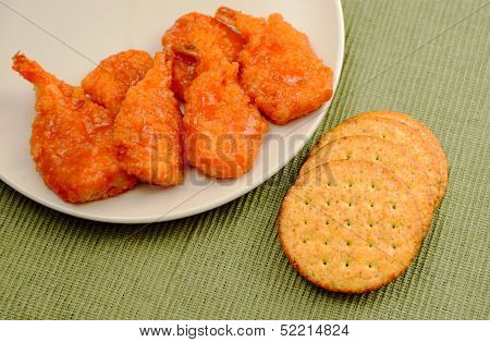 Spicy Fried Shrimp And Crackers