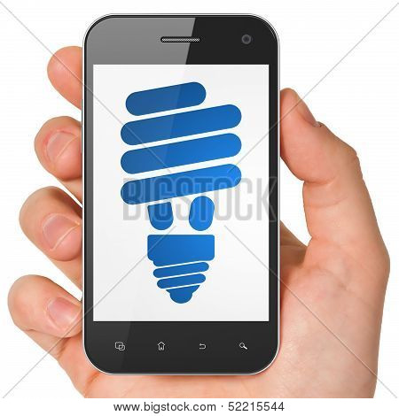 Business concept: Energy Saving Lamp on smartphone