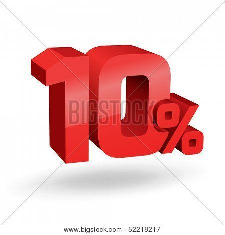 10% percent; digits. Vector illustration.