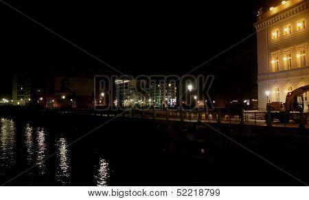Berlin city center at night